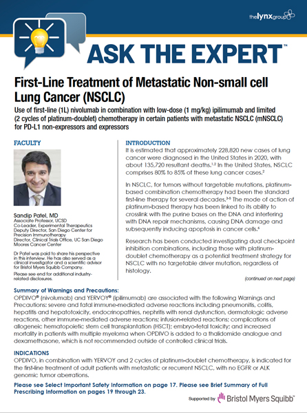 ASK THE EXPERT: First-Line Treatment of Metastatic Non-small cell Lung Cancer: Part 2